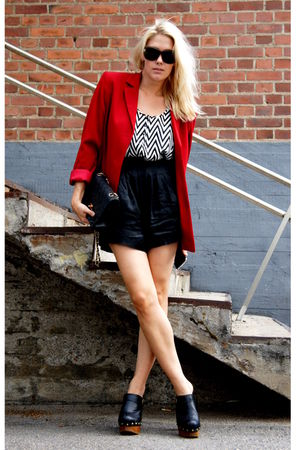 white H&M top - black Jeffrey Campbell shoes - red 2ndhand blazer