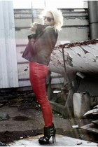 red GinaTricot pants - black stylestalker jacket