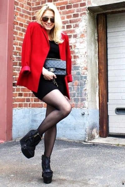 red 2ndhand blazer - black acne shoes - black vintage dress - black Chanel bag
