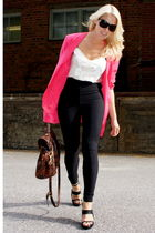 black American Apparel pants - black acne shoes - brown Mulberry purse - white v