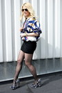 Red-silk-vintage-jacket-navy-miu-miu-heels-black-stylestalker-skirt