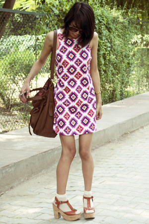 bubble gum asos dress - brown Zara bag - tawny Blowfish sandals