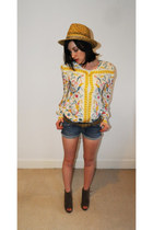 yellow vintage blouse - blue Topshop shorts - tawny Top wedges