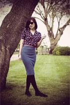 amethyst vintage blouse - blue vintage skirt