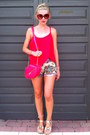 Red-h-m-bag-cream-lefties-shorts-red-new-look-top