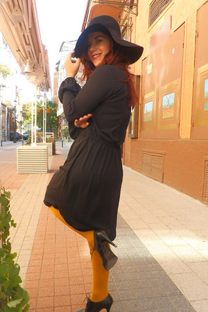 black chiffon H&M dress - black wool felt H&M hat - mustard H&M tights
