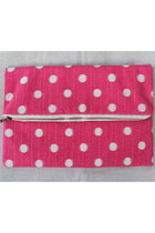 Pink Polka Dot Fold Over Clutch