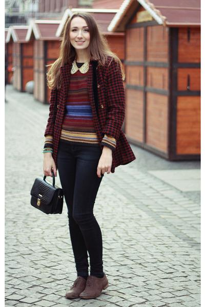 Primark necklace - Topshop coat - vintage bag - Topshop pants