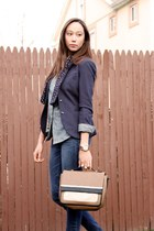 brown brown and black Zara bag - navy Victorias Secret jeans - navy H&M blazer