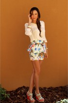 beige Zara blouse - light blue peplum Zara skirt