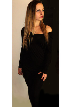 black Promod dress - black tights