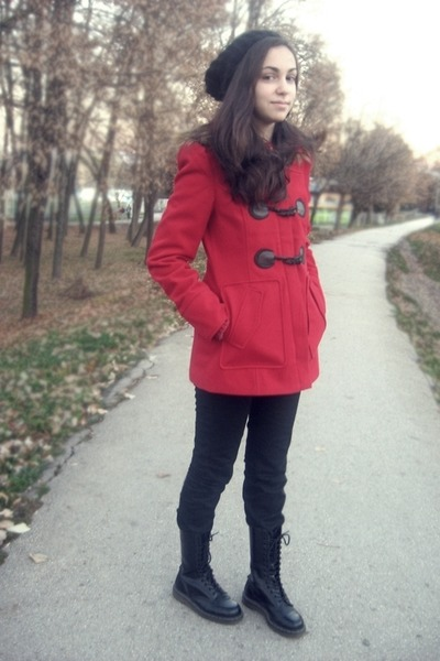 ruby red Orsay coat - black Dr Martens boots - black Accessorize hat