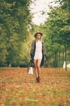 boho Zara cape - brown suede Aldo boots - light brown River Island hat