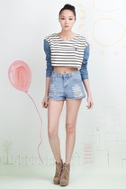 Striped Crop Top with Denim Sleeves