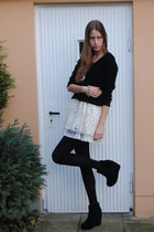 portobello market dress - H&M sweater - Modekungen wedges - vintage bracelet - v