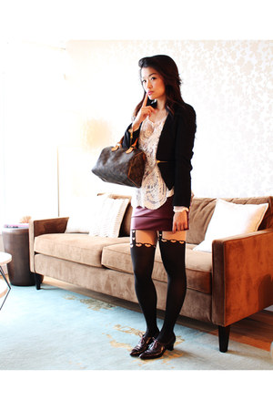 black Sheinside blazer - brown speedy 25 Louis Vuitton bag - white Sheinside top