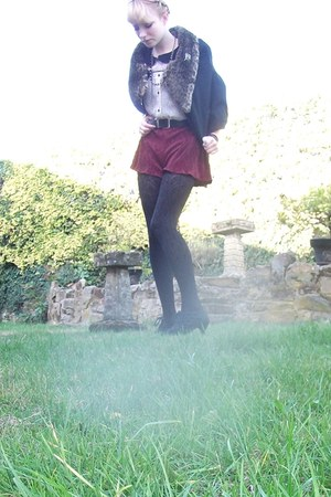 black handmade cape - brick red pleated handmade shorts