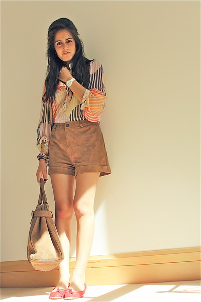 Gucci bag - Twenty8Twelve shorts - D&G flats - Diane Von Furstenberg blouse