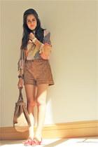 Gucci bag - Twenty8Twelve shorts - D&G flats - Diane Von Furstenberg blouse