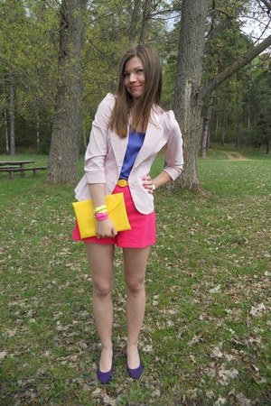 purple new look shoes - light pink second hand blazer - yellow DIY purse - hot p