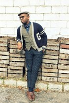 navy JCrew sweater - forest green JCrew pants