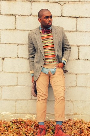 light brown tweed thrifted blazer - crimson urbanoutfitters boots
