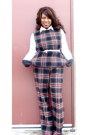 plaid asos pants - plaid peplum asos top
