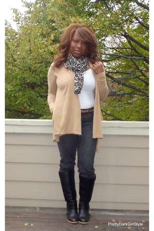 Charlotte Russe boots - Old Navy jeans - H&M scarf - Forever 21 t-shirt