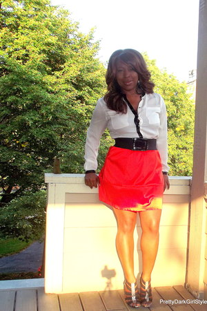 H&M blouse - H&M skirt - Bakers heels