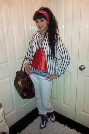 corset Pretty Disturbia bodysuit - Mango jeans - striped Newlook jacket