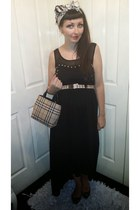 tan Burberry bag - black Shout dress - tan Burberry belt