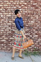 folkloric vintage skirt - denim shirt Uniqlo shirt - beaded vintage flats