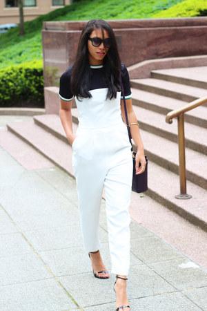 white Topshop jumper - navy Zara t-shirt - black Steve Madden heels