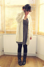 Office-boots-h-m-dress-primark-tights-h-m-socks-aran-vintage-cardigan