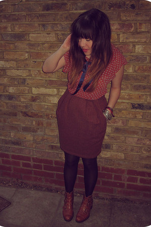 tawny Office boots - burnt orange Joy dress - black H&M tights