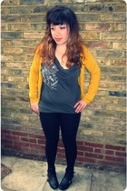 black new look boots - black zipper H&M leggings - gray All Saints top - mustard