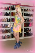 bubble gum deadstock UNIF dress - blue UNIF boots - blue Chanel bag