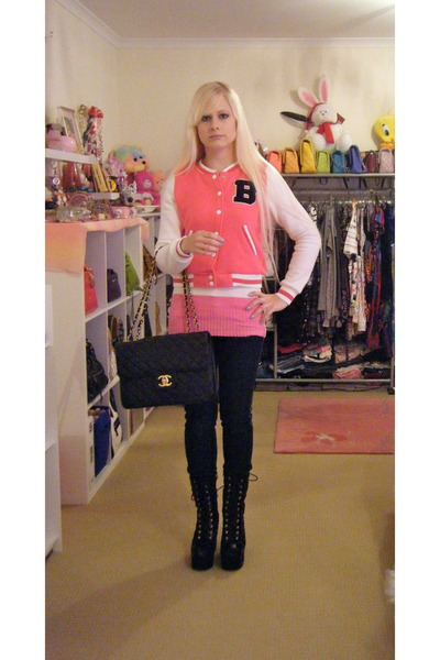 black bach Jeffrey Campbell boots - bubble gum supre jacket - black Chanel bag