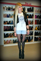 black big lita Jeffrey Campbell boots - black biker Black Milk jacket