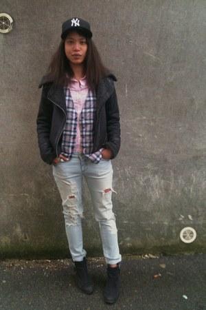 Topshop boots - Topshop coat - Zara jeans - new era hat - Uniqlo shirt