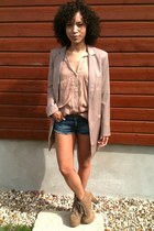 la redoute creation jacket - Zara shirt - Topshop shorts - Jeffrey Campbell heel