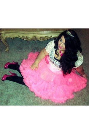 white lace Forever 21 top - bubble gum tutu skirt