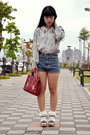 Blue-shorts-ruby-red-bag-light-blue-blouse