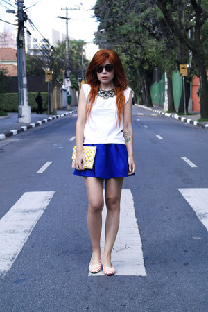 blue set shirt skirt and necklace suit
