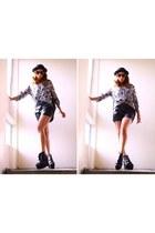 yuki blouse - acne boots - Bershka shorts