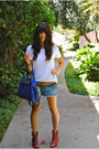 red booties lucky boots - blue leather Michael Kors bag - denim cut offs DIY sho