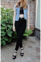 black crop H&M top - corduroy Monki jeans