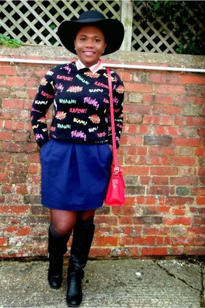 comic print Topshop jumper - navy tulip shape Zara skirt