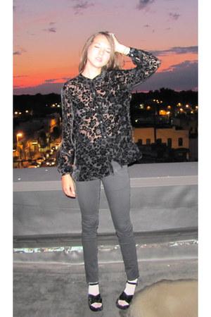 velvet burnout vintage blouse - Cheap Monday pants - velvet platform Mia sandals