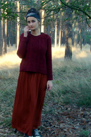 maroon second hand sweater - brick red Local store skirt